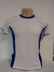 Camiseta dry fit 100% poliester para sublimação branca/ com detalhes em azul royal