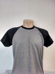 Camiseta Raglan cinza mescla com preto para sublimação 100 % poliéster