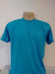 Camiseta lisa azul turquesa para sublimação 100% poliéster para sublimação