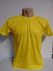 Camiseta lisa amarelo canário para sublimação 100% poliéster para sublimação