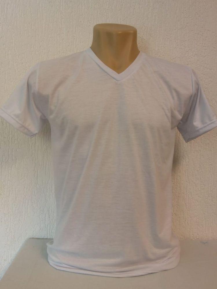Camiseta branca gola v especial (anti piling) para sublimação 100 %  poliester f0484281cc624