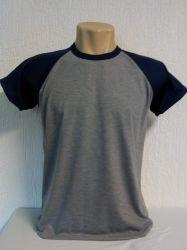 Camiseta raglan cinza mescla / azul marinho para sublimação 100 % poliester