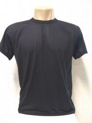 Camiseta lisa preta 100% poliéster para sublimação