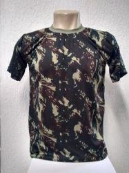 Camiseta em dry fit  camuflada exercito  100% poliester
