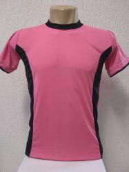 Camiseta dry fit rosa com  detalhes preto 100% poliester para sublimação