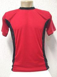 Camiseta dry fit vermelha com  detalhes preto 100% poliester para sublimação
