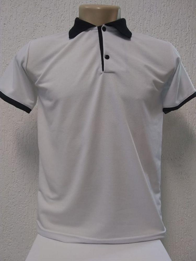 37b1ee67f Distribuidora Pg Sublimação - Camisa polo branca com detalhes preto malha  piquet 100% poliester para sublimação