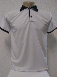 Camisa polo branca com detalhes preto malha piquet 100% poliester para sublimação