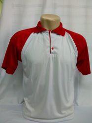 Camisa polo dry fit branco com gola e detalhes vermelha 100% poliester
