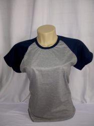 camiseta baby loock raglan cinza mescla com azul marinho 100% poliester para sublimação