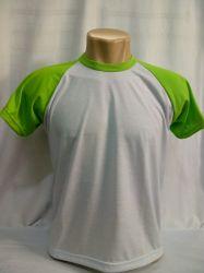 Camiseta raglan branca /verde limão 100% poliester para sublimação
