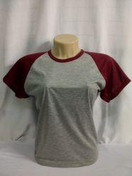 Camiseta baby look raglan cinza mescla com bordo 100% poliéster para sublimação