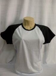 camiseta baby loock raglan branco com preto 100% poliéster para sublimação