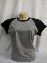 camiseta baby loock raglan cinza com preto 100% políester para sublimação