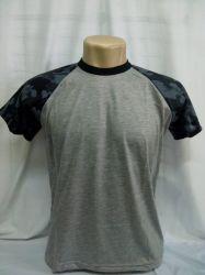 Camiseta raglan cinza mescla com camuflado bope 100% poliester para sublimação