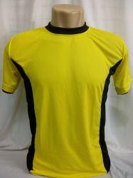 Camiseta dry fit amarelo canario com detalhes em preto 100% poliester para subliamação
