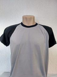Camiseta infantil raglan cinza prata com preto 100% poliéster para sublimação