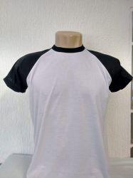 Camiseta infantil raglan branca com preto 100% poliéster para sublimação