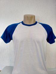 Camiseta infantil raglan branca com  azul royal 100% poliester para sublimação