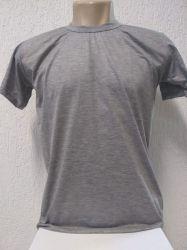 Camiseta infantil lisa cinza mescla 100% poliester para sublimação