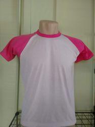 Camiseta infantil raglan branca com pink 100% poliéster para sublimação