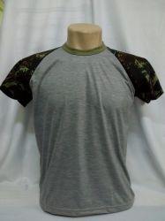 Camiseta Infantil Raglan Cinza Mescla com Camuflado 100% políester
