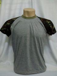 Camiseta raglan cinza mescla/camuflado para sublimação 100 % poliester