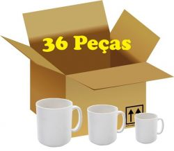 36 canecas brancas 325 ml de ceramica  resinadas para sublimação nacional