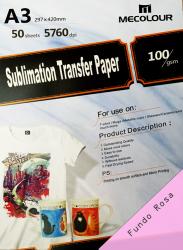 papel A3 mecolour premium fundo rosa sublimático com 50 folhas