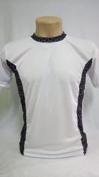 Camiseta dry fit 100% poliester para sublimação branca/ com detalhes em colmeia preto e cinza