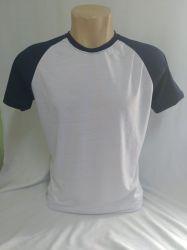 Camiseta Raglan branca/ azul marinho 100% poliéster para sublimação
