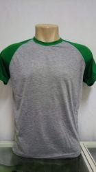 Camiseta Raglan cinza mescla/ verde bandeira 100% poliéster para sublimação