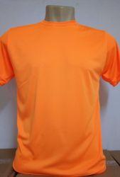 Camiseta Dry fit 100% poliéster para sublimação laranja fluorescente