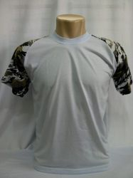Camiseta raglan infantil branca com CAMUFLADO100% políester